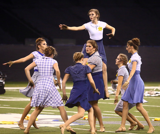 The colorguard performs with the Marching Panthers in Class C of the State Marching Band Finals at Lucas Oil Stadium on Saturday, October 29, 2016. The Panthers received first place.<br /> Kelly Lafferty Gerber | Kokomo Tribune