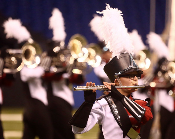 Hailee Pearson plays the flute along with the rest of the Marching Panthers while Western High School performs in Class C of the State Marching Band Finals at Lucas Oil Stadium on Saturday, October 29, 2016. The Panthers received first place.<br /> Kelly Lafferty Gerber   Kokomo Tribune