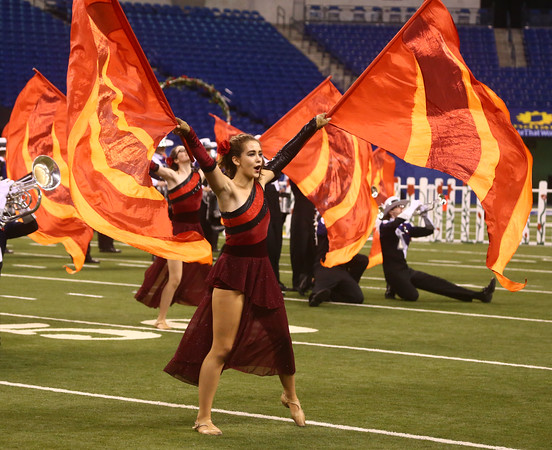 Colorguard member Danielle Granson performs with Northwestern High School in Class D of the State Marching Band Finals at Lucas Oil Stadium on Saturday, October 29, 2016. The Tigers placed eighth.<br /> Kelly Lafferty Gerber | Kokomo Tribune