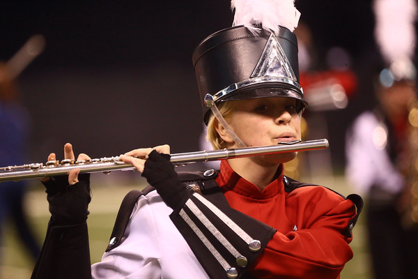 Grace Guillaume plays the flute as Western High School performs in Class C of the State Marching Band Finals at Lucas Oil Stadium on Saturday, October 29, 2016. The Panthers received first place.<br /> Kelly Lafferty Gerber | Kokomo Tribune