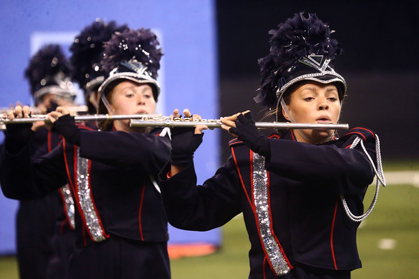 Malloreigh Clippard plays the flute as she performs with the Lewis Cass Kings in Class C during the State Marching Band Finals at Lucas Oil Stadium on Saturday, October 29, 2016. The Kings received fourth place.<br /> Kelly Lafferty Gerber   Kokomo Tribune
