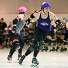 Confetti Punch of the City of Fists roller derby team breaks through the pack to become the Lead Jammer. The City of Fists went on to defeat Richmond's Dire Skates during Kokomo's first home bout on Saturday, September 24, 2016.<br /> Kelly Lafferty Gerber | Kokomo Tribune