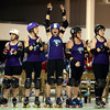 Wercanit Moovesu (center) cheers as City of Fists is announced before the start of their first home bout against the Dire Skates on Saturday, September 24, 2016.<br /> Kelly Lafferty Gerber | Kokomo Tribune