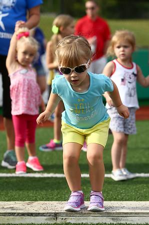 7-1-17<br /> Haynes Apperson Sports<br /> 3-year-old Emma Haynes prepares for the long jump.<br /> Kelly Lafferty Gerber | Kokomo Tribune