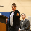 Lisa Keown thanks everyone for their support and talks about her son, 17-year-old Chad Keown, during his funeral at Tri-Central High School on April 17, 2018.<br /> Kelly Lafferty Gerber | Kokomo Tribune
