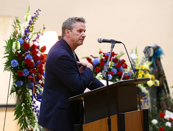 Dr. Chuck Dietzen, Chad's doctor, gets choked up as he shares the impct Chad Keown had on him and encouraged those in attendance at Chad's funeral on April 17, 2018, to continue Chad's legacy by being kind and selfless. Chad Keown, a 17-year-old student at Tri-Central High School, passed away on April 12. <br /> Kelly Lafferty Gerber | Kokomo Tribune