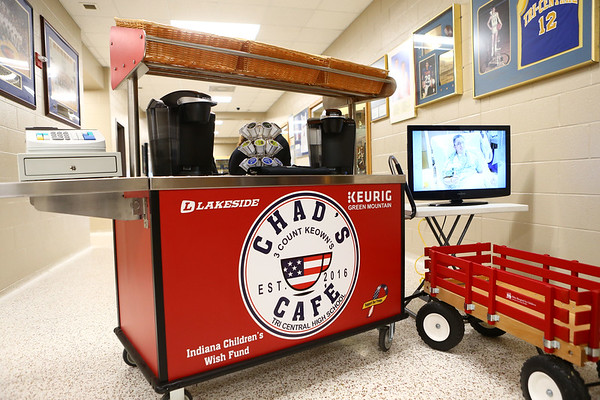 Chad's Cafe sat outside Tri-Central's gym during the funeral for 17-year-old student Chad Keown on April 17, 2018, who died on April 12.<br /> Kelly Lafferty Gerber | Kokomo Tribune