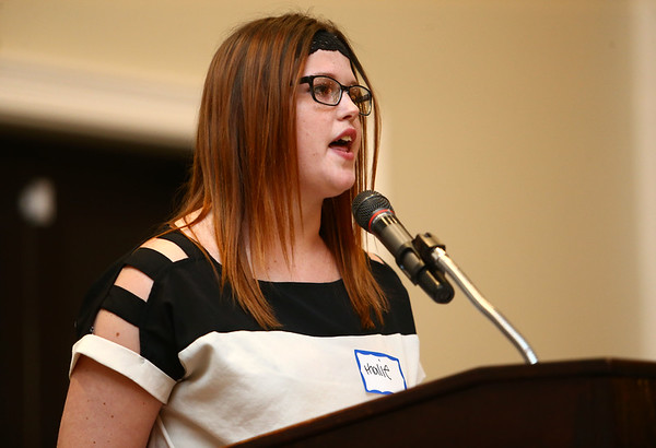 Kalie Reed shares her story of how she ended up at The Crossing in Kokomo and how the school and staff have changed her life during a celebration banquet on Thursday, April 26, 2018.<br /> Kelly Lafferty Gerber | Kokomo Tribune