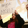 "Kylie Hawks shares her ""cardboard story"" along with other students from The Crossing in Kokomo who first held up a sign with a word that used to describe them before tearing it up and holding up a new sign revealing how they've changed. Students from The Crossing shared their stories during a celebration banquet on Thursday, April 26, 2018.<br /> Kelly Lafferty Gerber 
