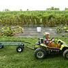 4-year-old Leo Massey drives his dune buggy past the garden as he transports a fallen branch on the cart behind it. Leo typically uses his dune buggy and cart to transport bins of vegetables for his produce stand in West Middleton on Wednesday, August 1, 2018.<br /> Kelly Lafferty Gerber | Kokomo Tribune