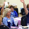 Heartland's Woman in Business luncheon on Aug. 23, 2018. Diana Tenbrook smiles when the audience was asked about how big her smile was.<br /> Tim Bath | Kokomo Tribune