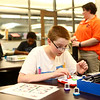 Gavin La Mar, 14, concentrates as he figures out Laser Maze, the puzzle of where to place mirrors and blockers to get a laser from point A to B during Digital Divers at the Kokomo-Howard County Public Library on August 21, 2018.<br /> Kelly Lafferty Gerber   Kokomo Tribune