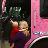 4-year-old Audrey Corn gets a closer look at the pink firetruck parked in front of her house. The Pink Heals Tour made a stop to see Audrey on Friday, August 24, 2018. Audrey was diagnosed with leukemia in March.<br /> Kelly Lafferty Gerber | Kokomo Tribune