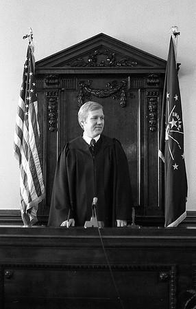 Judge Bruce Embrey sworn in on July 1, 1977.<br /> Kokomo Tribune Archive