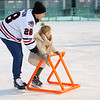 The Indy Fuel hockey player Mathew Thompson helps 4-year-old Breenan Thatcher across the ice as the hockey team visited Kokomo's Frozen Sandlot on Tuesday, December 18, 2018.<br /> Kelly Lafferty Gerber | Kokomo Tribune