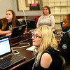 Cameron Shrewsbury, a Western seventh-grader, watches a video with the group at the beginning of the Girls Who Code meeting at the Kokomo-Howard County Public Library on February 21, 2018.<br /> Kelly Lafferty Gerber | Kokomo Tribune