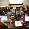Bailey Shuck, right, a Central Middle School sixth-grader, makes a suggestion for the group's project during Girls Who Code at the Kokomo-Howard County Public Library on February 21, 2018.<br /> Kelly Lafferty Gerber | Kokomo Tribune