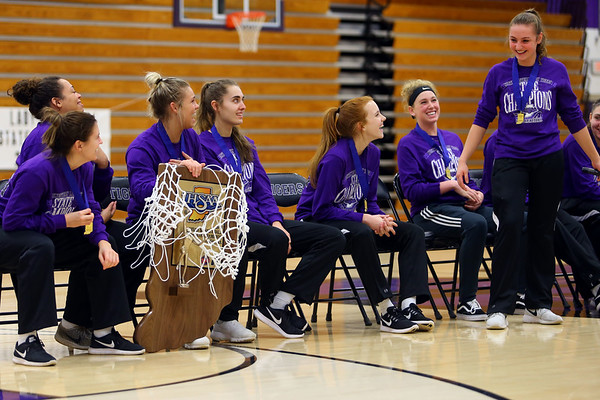 Northwestern girls basketball team joke around at the after game victory rally at Northwestern after winning the State Championship on February 24, 2018, at Bankers Life Fieldhouse.<br />  Tim Bath | Kokomo Tribune