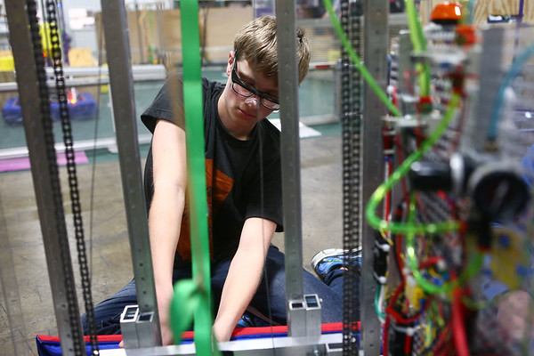 Western junior Jordan Bradley works on the Panther Tech robot on February 20, 2018.<br /> Kelly Lafferty Gerber | Kokomo Tribune