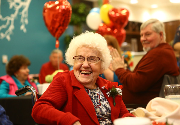 Thelma Hufford reacts when she's announced as queen of the Sweethearts Ball at Wellbrooke of Kokomo on February 14, 2018.<br /> Kelly Lafferty Gerber | Kokomo Tribune