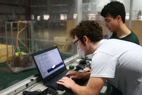 Western senior Nathanael Knight and junior Donovan Chiu work on coding their Panther Tech robot on February 20, 2018.<br /> Kelly Lafferty Gerber | Kokomo Tribune