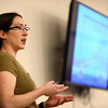 Melissa Widhalm, Operations Manager of the Purdue Climate Change Research Center discusses how shifting climate patterns translate to tangible changes in our daily lives in the Kokomo area during a meeting of Kokomo Creation Care, an affiliate of Hoosier Interfaith Power and Light.<br /> Kelly Lafferty Gerber | Kokomo Tribune