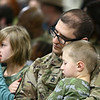 Msg. James Strasler and his 4-year-old son James listen to the speakers during the 38th Sustainment Brigade departure ceremony on Tuesday, January 2, 2018.<br /> Kelly Lafferty Gerber | Kokomo Tribune