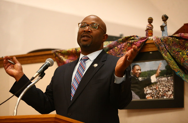 Senator Greg Taylor speaks at the Dr. Martin Luther King, Jr. Celebration at Second Missionary Baptist Church on Saturday, January 13, 2018.<br /> Kelly Lafferty Gerber | Kokomo Tribune