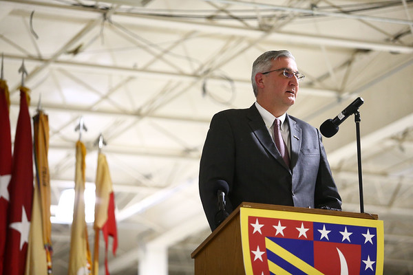 Gov. Eric Holcomb addresses the crowd during the 38th Sustainment Brigade departure ceremony on Tuesday, January 2, 2018.<br /> Kelly Lafferty Gerber | Kokomo Tribune