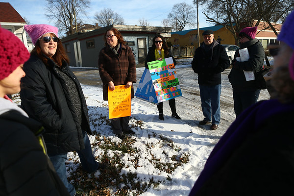 A local group gathers near the Sol House in Kokomo before heading down the Indianapolis for Reclaiming Our State: Power to the Polls on Saturday, January 20, 2018.<br /> Kelly Lafferty Gerber | Kokomo Tribune