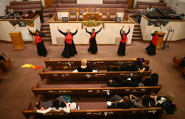 Mount Pisgah Missionary Baptist Church praise dancers perform at the Dr. Martin Luther King, Jr. Celebration at Second Missionary Baptist Church on Saturday, January 13, 2018.<br /> Kelly Lafferty Gerber | Kokomo Tribune