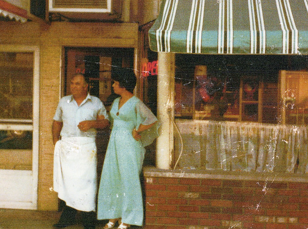 Louie and Sophia Volikas at the original Union Street location for Louie's Coney Island in the 1970s.