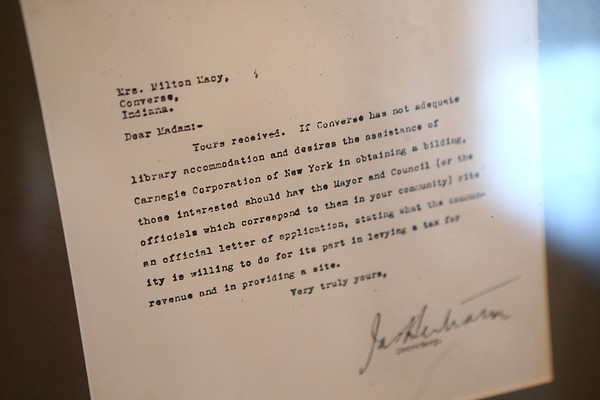 The letter from Carnegie to Mary Macy about building a library in Converse is on display at the Converse Public Library.<br /> Kelly Lafferty Gerber | Kokomo Tribune