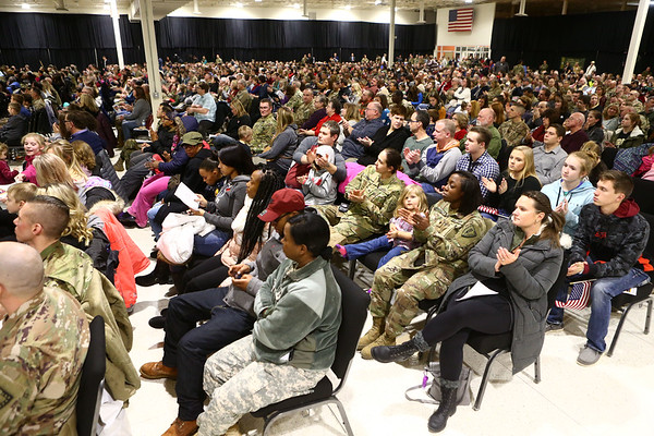 The Kokomo Event Center was a packed house for the 38th Sustainment Brigade departure ceremony on Tuesday, January 2, 2018.<br /> Kelly Lafferty Gerber | Kokomo Tribune
