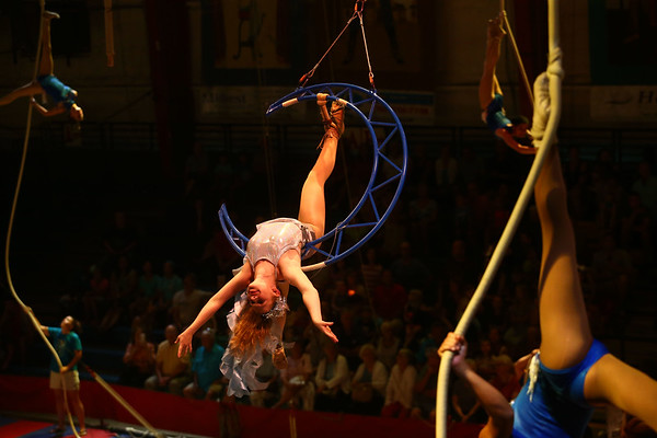 Molly Nord swings on the moon during the Peru Amateur Circus on Saturday, July 14, 2018.<br /> Kelly Lafferty Gerber | Kokomo Tribune