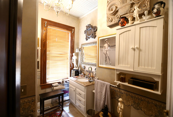 The upstairs bathroom. The George Tate house, shown here on July 17, 2018,  located at 114 East Jefferson Street and now owned by Dorwin Starr, was recently placed on the National Register of Historic Places. <br /> Kelly Lafferty Gerber | Kokomo Tribune