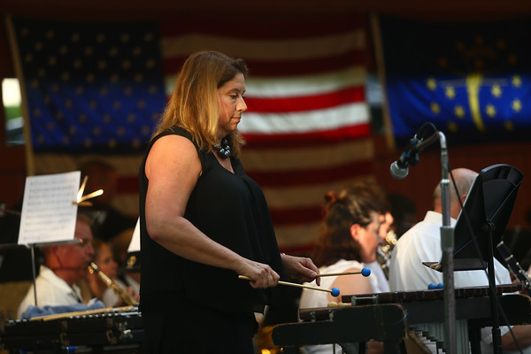 """Xylophone soloist Stephanie Carter performs during Kokomo Park Band's """"Let Freedom Ring"""" concert in Highland Park on July 4, 2018.<br /> Kelly Lafferty Gerber 
