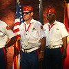 """William Maiden, center, along with other members of the Marine Corps League's color guard, post the colors before Kokomo Park Band's """"Let Freedom Ring"""" concert in Highland Park on July 4, 2018.<br /> Kelly Lafferty Gerber 
