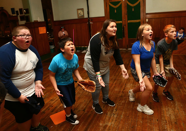 "In unison, kids in the Ole Olsen Children's Theatre yell ""Babe Ruth"" as they rehearse ""The Sandlot"" in Peru on Tuesday, July 3, 2018.<br /> Kelly Lafferty Gerber 