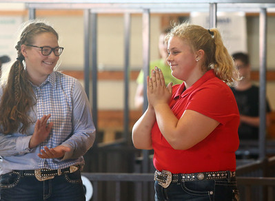 Megan Hawkins reacts as she is named the Supreme Showman at the Howard County 4-H Fair on Wednesday, July 11, 2018. Kelly Lafferty Gerber | Kokomo Tribune