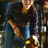 Carleigh Feldhouse shows her goat during the Livestock Auction at the Howard County 4-H Fair on Thursday, July 12, 2018.<br /> Kelly Lafferty Gerber | Kokomo Tribune