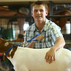 Isaac Guffey shows his goat during the Livestock Auction at the Howard County 4-H Fair on Thursday, July 12, 2018.<br /> Kelly Lafferty Gerber | Kokomo Tribune