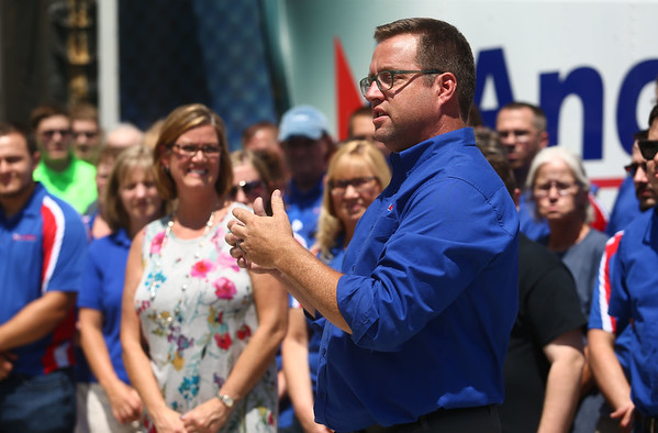 Andy Baker of AndyMark welcomes the public to AndyMark's new location on 1900 East North Street on Wednesday, July 11, 2018.<br /> Kelly Lafferty Gerber | Kokomo Tribune