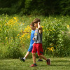 9-year-olds Tate Pike, left, and Ian Lane chat during a nature walk at the Super Explorers day camp at Jackson Morrow Park on Monday, July 16, 2018.<br /> Kelly Lafferty Gerber | Kokomo Tribune