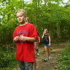 Audrey Phenix, 9, searches for animal tracks during the nature walk at the Super Explorers day camp at Jackson Morrow Park on Monday, July 16, 2018.<br /> Kelly Lafferty Gerber | Kokomo Tribune