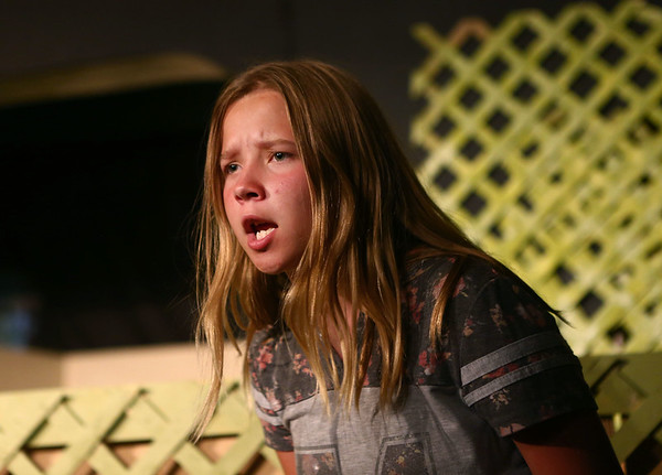 """Bethany Ewer acts as Sara Smalls as the Ole Olsen Children's Theatre rehearse """"The Sandlot"""" in Peru on Tuesday, July 3, 2018.<br /> Kelly Lafferty Gerber 