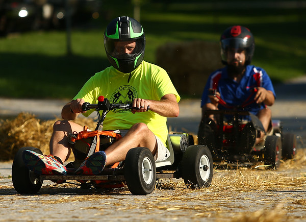 Paul Wyman, chairman of the Haynes Apperson festival, takes a spin in the PowerWheels Racing course during the Maker City Fair at the Haynes Apperson Festival on Friday, June 29, 2018.<br /> Kelly Lafferty Gerber | Kokomo Tribune