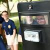 Ty Frazier looks through the plexiglass of Kokomo SWAT's ballistic shield during the Kokomo Police Department's youth academy on Wednesday, June 20, 2018.<br /> Kelly Lafferty Gerber | Kokomo Tribune