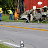 A white SUV traveling westbound on SR 26 just east of SR 29 left the road and struck a tree about 5:50 a.m. on June 15, 2018. The vehicle burst into flames on impact. The driver died on impact with two passengers being air lifted to the hospital. A boy to Riley and a woman to Eskenazi Health hospital.<br /> Tim Bath | Kokomo Tribune