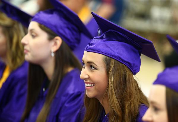 Madelyn Millikan smiles as she listens to speeches during the Northwestern High School 2018 graduation on Saturday, June 2, 2018.<br /> Kelly Lafferty Gerber   Kokomo Tribune